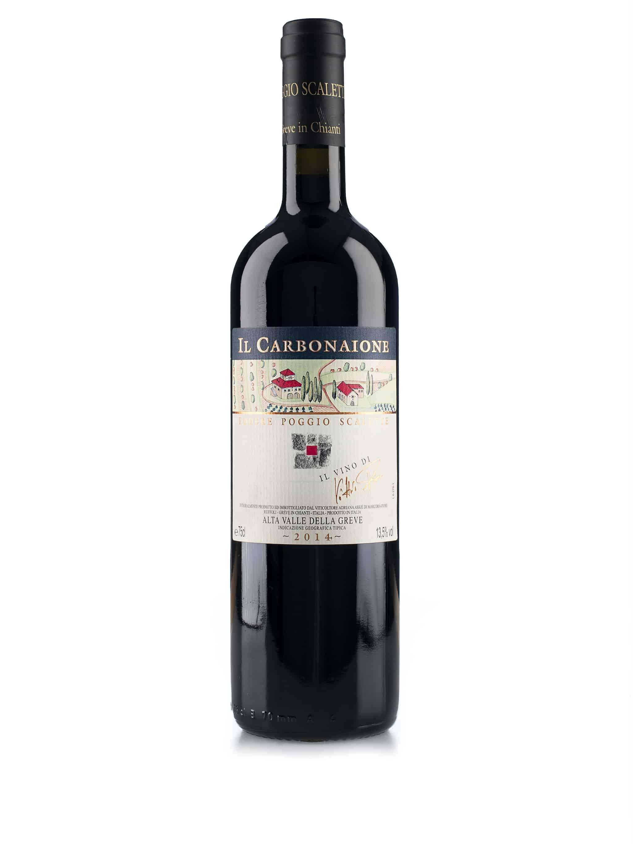 Italiaanse rode wijn van wijndomein Podere Poggio Scalette: Il Carbonaione