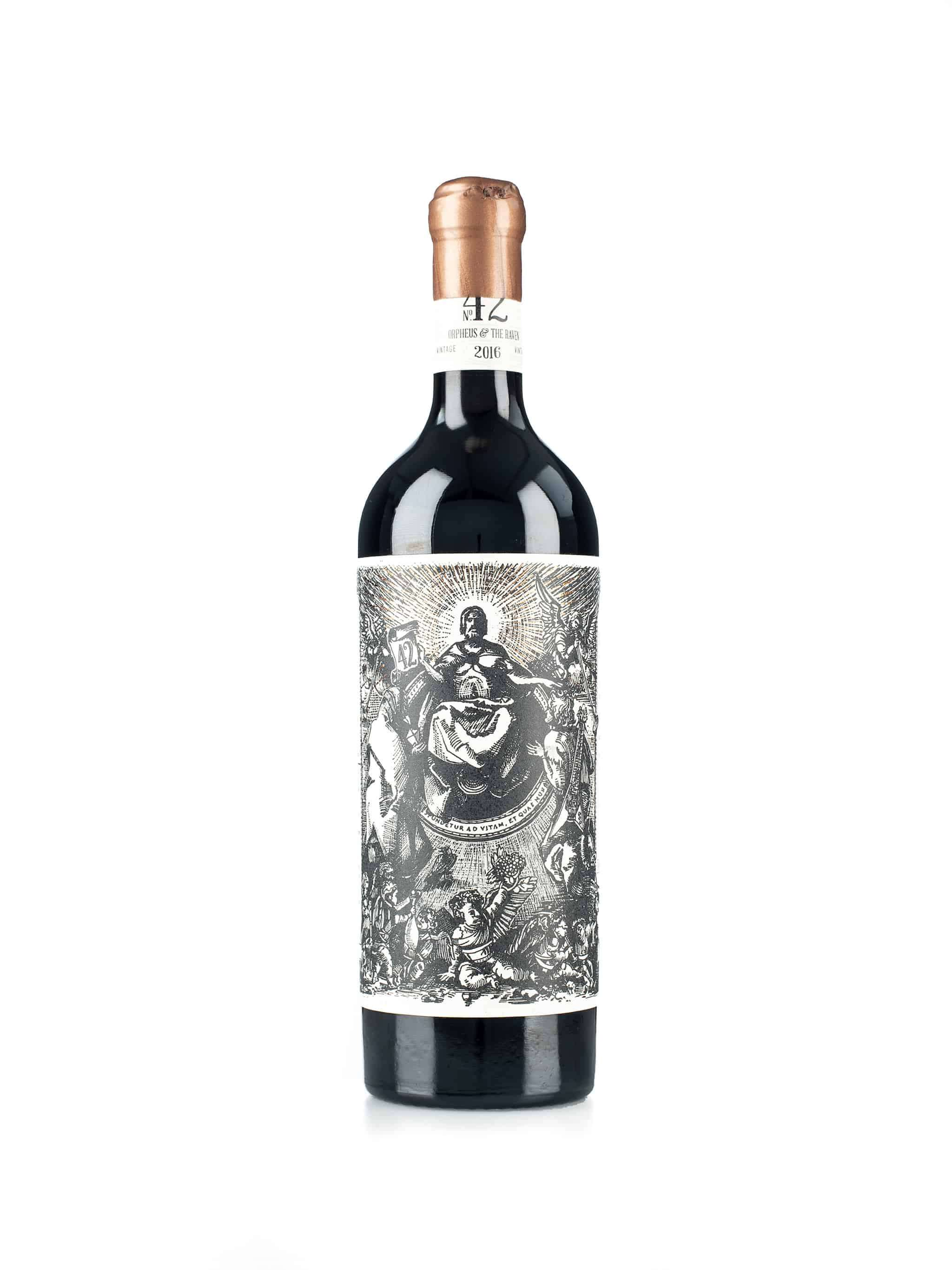 Zuid-Afrikaanse rode wijn van wijndomein Orpheus and The Raven: Orpheus (linkerkant fles)