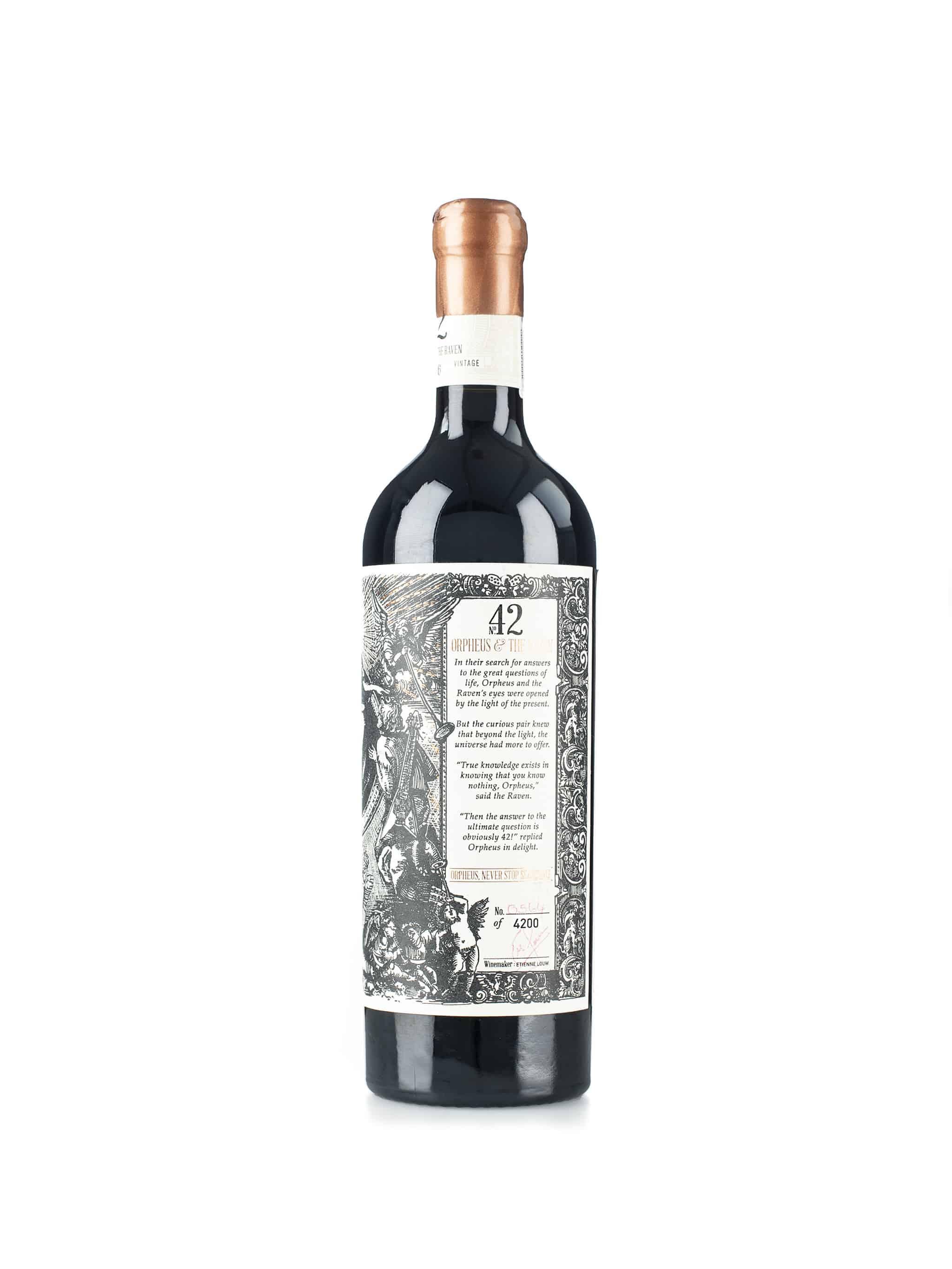 Zuid-Afrikaanse rode wijn van wijndomein Orpheus and The Raven: Orpheus (rechterkant fles)
